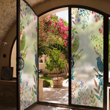 Customized Stained Static Cling Window Film Frosted Opaque Privacy Glass Sticker Home Decor Digital print BLT451 Flowers