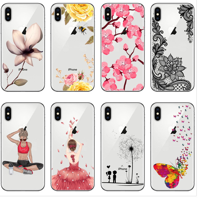 best service 64908 f65e8 US $2.03 40% OFF Sexy lace sports girl bee flowers Banana Soft Silicone TPU  Phone Case Cover For iPhone X 10 5 5S SE 6 6SPlus 7 7Plus 8 8 Plus-in ...