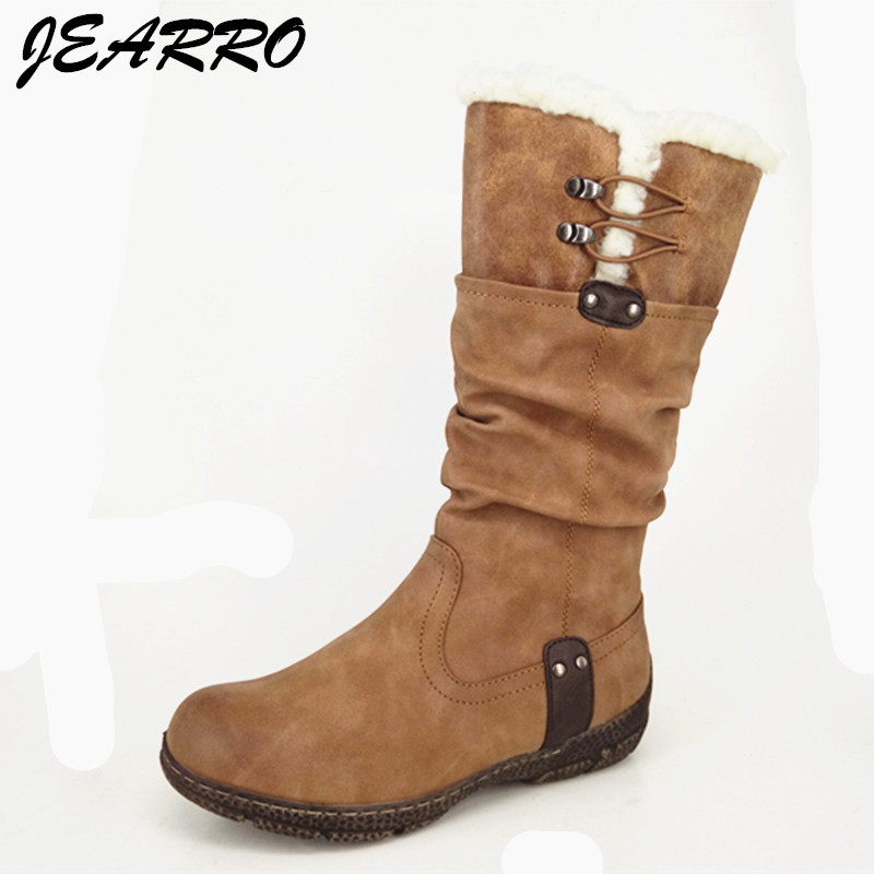 Appartements Pour Size37 Femme D'hiver Botas Femmes Zipper Mi mollet Dames Mejur Brown Chaussures Jearro Bottes FXqUwF0