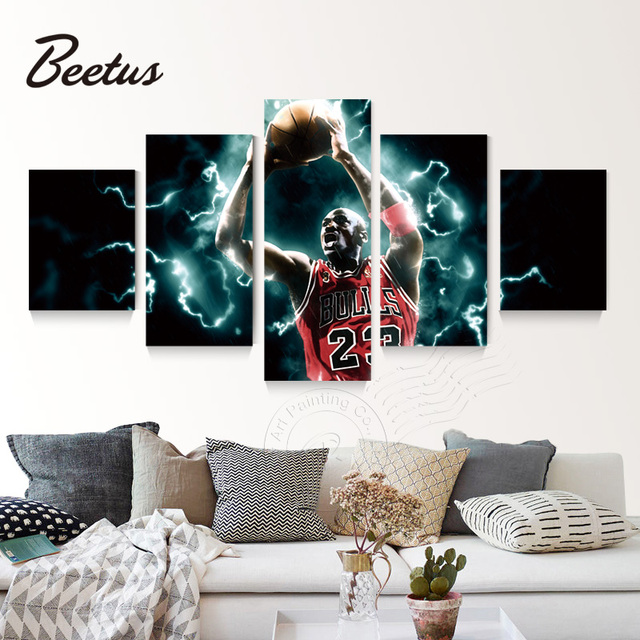 5 Panel Basketball God Michael Jordan Post Painting Picture 23rd ...