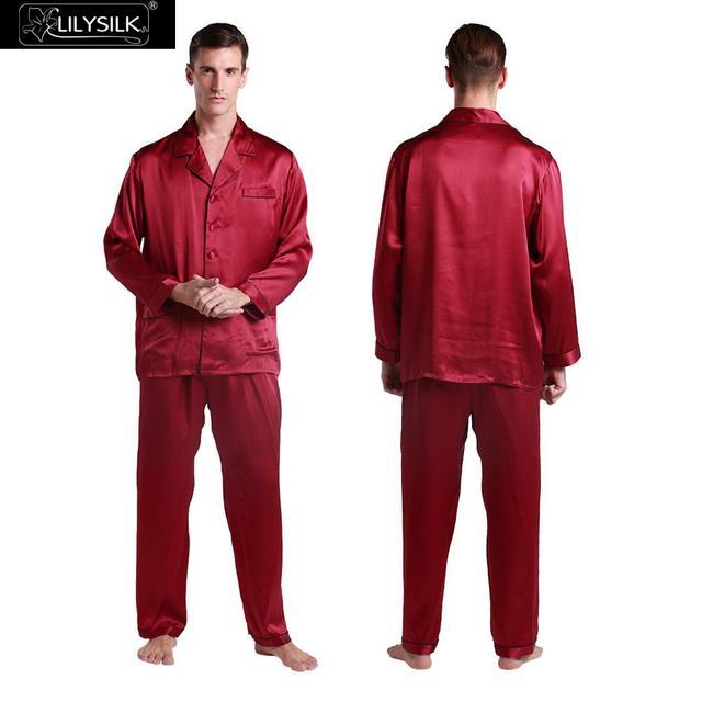 Lilysilk Pyjamas for Men Silk Pajamas Suit Pure Sleepwear Couple Home Wear Clothing Winter Male Japanese To Sleep Lounge Wear