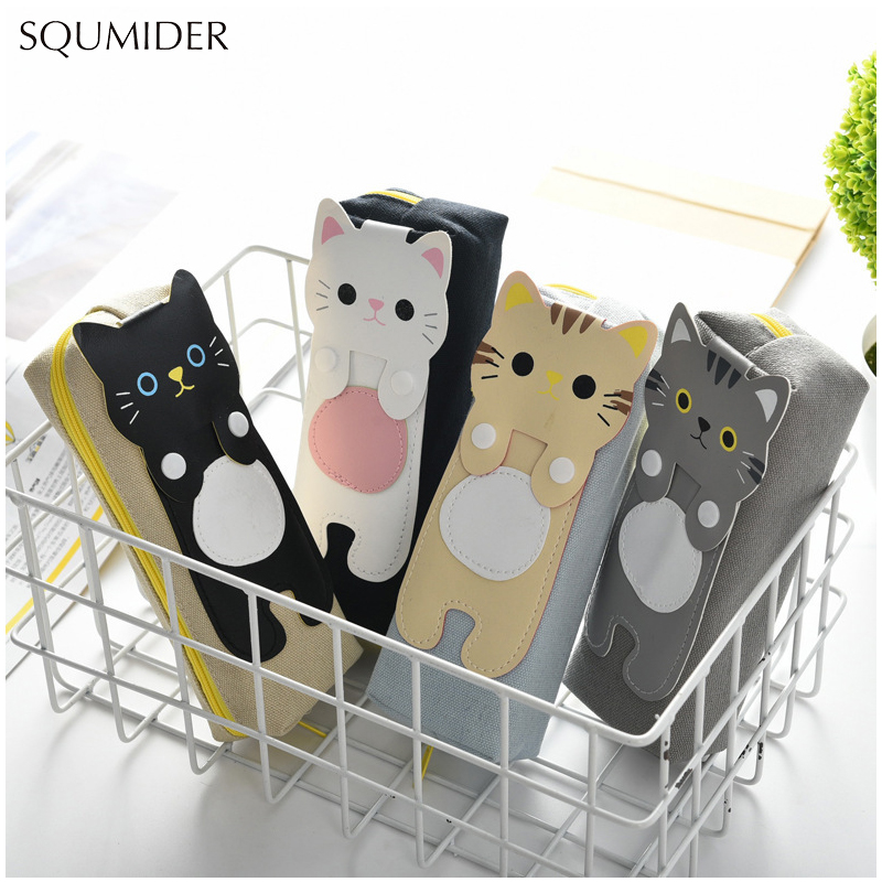 4 Colours Pencil Case Kawaii Cats Pencilcase Stationery School Supplies Pencils Storage Pencil Cases School Supply