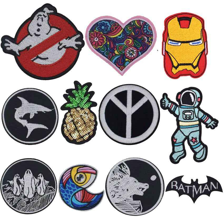 Nieuwe Collectie Rainbow Vrede Ghost Vis Liefde Patches Voor Kleding Patchwork Geborduurde Applicaties Kledingstuk Stickers Badge