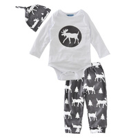 Baby Girl Clothing Set Deer Spring Autumn 2017 Baby Boy Clothes Sets Hat Romper Pant 3pcs