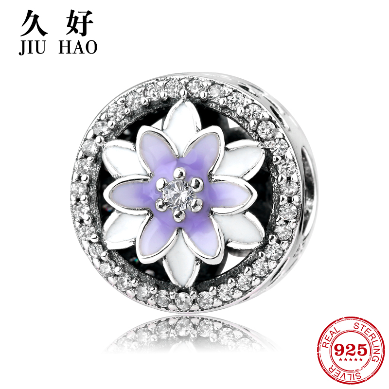 Hot 925 Sterling Silver charm Purple Flowers zircon Beads Fit Original Pandora Charms Bracelet Jewelry