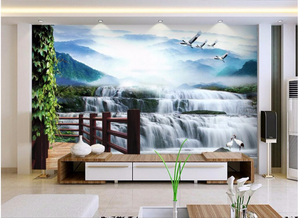 Foto papel de parede personalizado mural 3d água cai guindaste home on