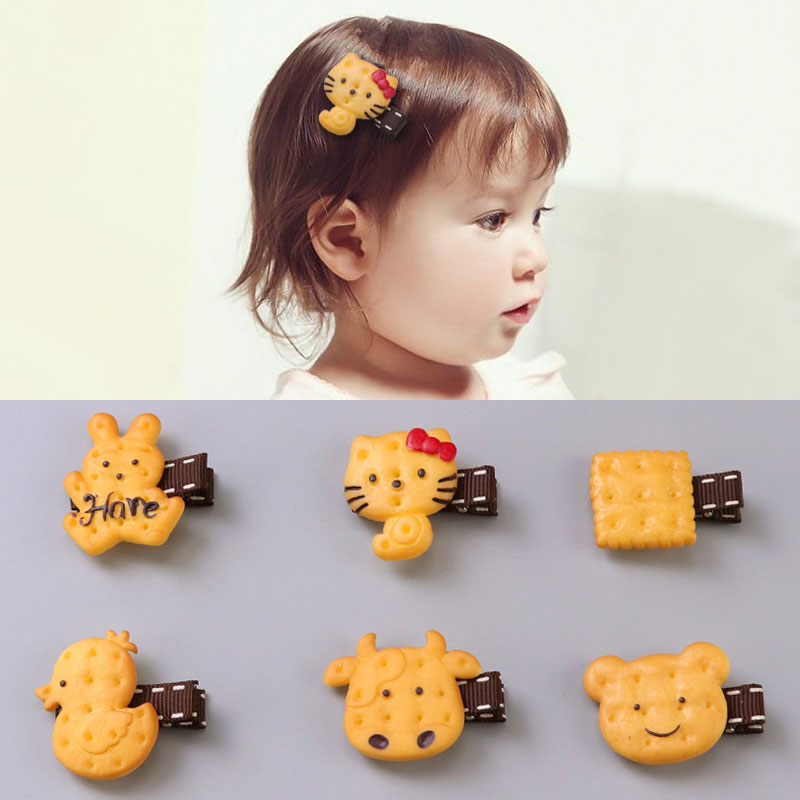 1PC New Cute Cartoon Scrunchy Girls Hair Clips Simulated Animals Biscuits Acrylic Safety Headband Kids Hair Oranment Accessories 1pcs scrunchy girls cute simulated biscuits cartoon shape hair clip headbands hairpins kids hairclip hair band hair accessories