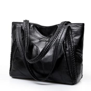 Women Tote Bag Genuine Sheepskin Patchwork Casual Hand Bags Big Capacity Woman Shoulder Bag Large Ladies Shopping Bags 2018