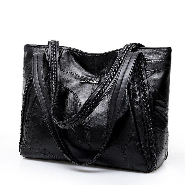 Women Tote Bag Genuine Sheepskin Patchwork Casual Hand Bags Big Capacity Woman Shoulder Bag Large Ladies Shopping Bags 2019