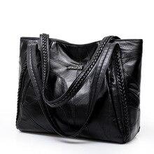Bolsa feminina genuína de retalhos de pele carneiro sacos de mão casuais grande capacidade mulher bolsa de ombro grandes senhoras sacos de compras 2020