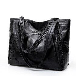 Bolso de mano de mujer genuino de piel de oveja Patchwork Casual bolsos de mano de gran capacidad bolso de hombro de mujer grandes bolsas de compras de mujer 2018
