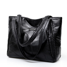 Women Tote Bag Genuine Sheepskin Patchwork Casual Hand Bags Big Capacity Woman Shoulder Bag Large Ladies Shopping Bags 2019 cheap runningtiger Genuine Leather Shoulder Bags Shoulder Handbags Polyester Single Appliques Fashion Solid Zipper Soft Interior Slot Pocket Cell Phone Pocket Interior Zipper Pocket Interior Key Chain Holder Interior Compartment Computer Interlayer