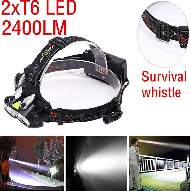 Led Flashlight 2018 Strong Light XM-L 2xT6 LED Headlamp T6 LED Headlight Light Lamp 18650 Safety & Survival Z1025
