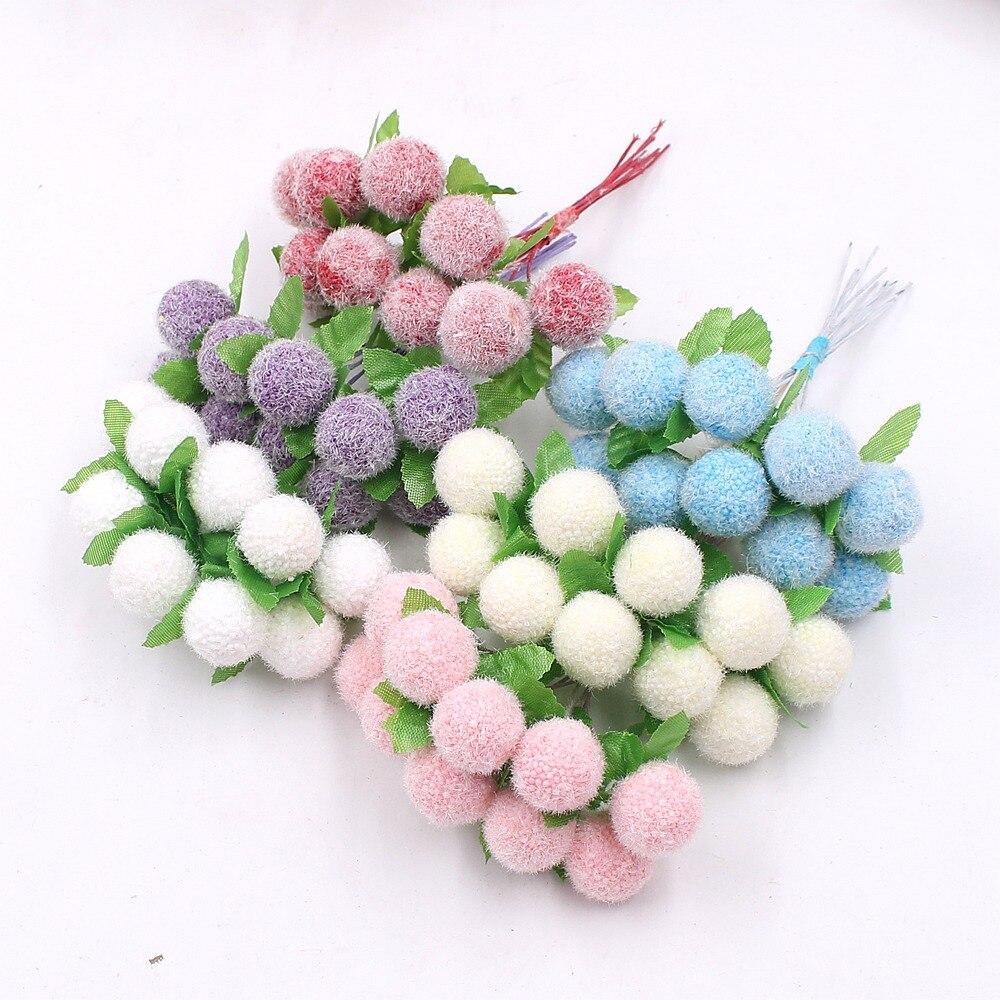 10pcs Foam Cherry Stamens Chiffon Artificial Flower Wedding Home Decoration Diy Wreath Gift Box Cut & Clip Craft Fake Flower