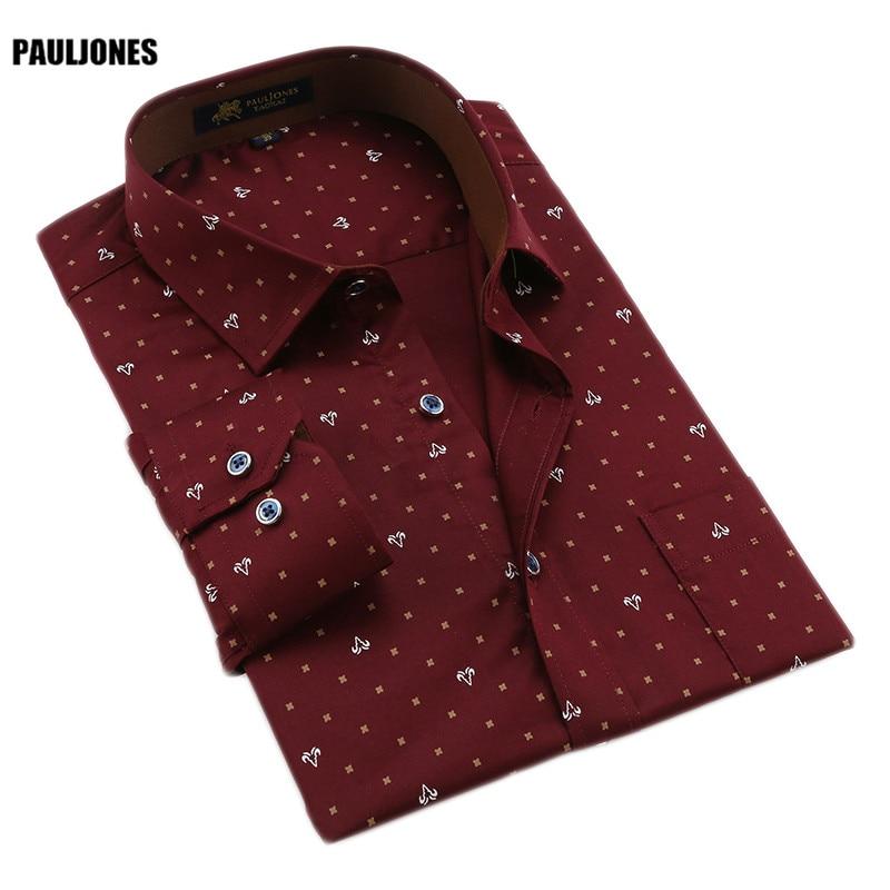 PaulJones 118x 봄 럭셔리 코튼 망 고품질의 긴 소매 인쇄 된 꽃 비즈니스 셔츠 중국 가져 오기 남자 의류