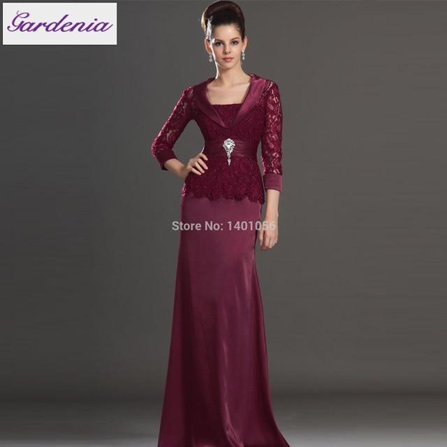 2b952e35acb Elegant Burgundy Mother Of The Bride Dress Long Sleeves Mother of the Groom  Vstinus Mermaid Evening Dress Illusion Back Mom