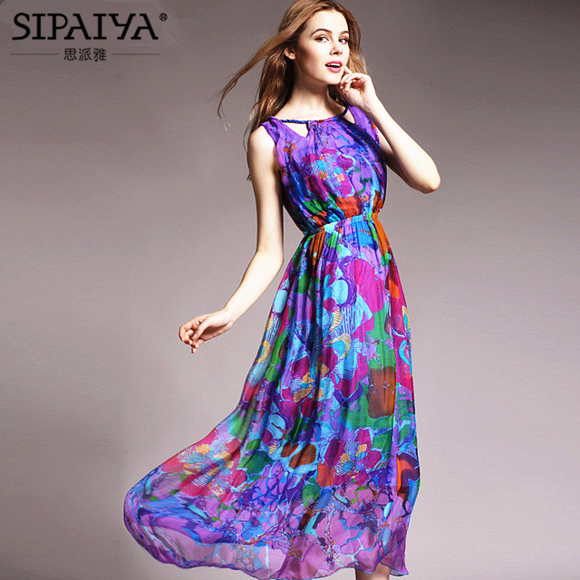 Здесь продается  Chinese 100% Pure Silk Dresses Women New 2016 Fashion Brand Sleeveless Floral Print Long Maxi Beach Dress Bohemian Summer Dress  Одежда и аксессуары