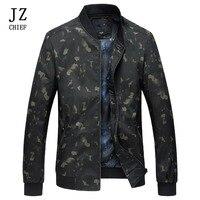 JZ CHIEF Mens Bomber Jacket Print Floral Autumn Stand Collar Baseball Jacket Rib Sleeve Zip Pocket Streetwear Coat Outerwear Man