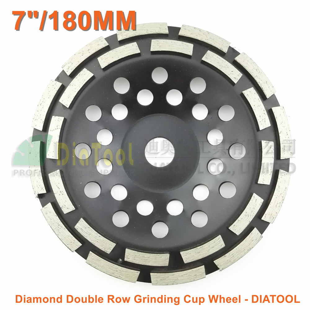 DIATOOL 7/180MM Diamond Double Row Grinding Cup Wheel 7 inch Twin Row Grinding disc 2pk diamond double row grinding cup wheel for granite and hard material diameter 4 5 115mm bore 22 23mm with 16mm washer