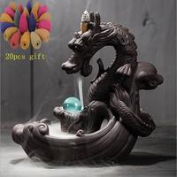 Backflow Incense Burner + 20Pcs Incense Cones Dragon With Crystal Ball Creative Ceramic Incense Holder Censer Dropshipping