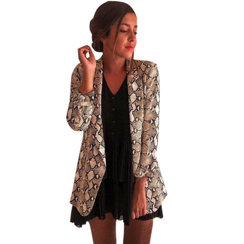 Women Snake Print Long Sleeve Suit Coat Blazer Biker Jacket Outwear Tops Women's Snake Print Blazer Women's Suit Top Women Z0521