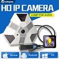 H.265 4MP/3MP IP Câmera De Rede De Áudio 360 Graus Panorâmica 4.0MP CCTV câmera IP Com Visão Noturna IR Onvif POE 5mp Fisheye Lente