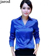 Women silk satin blouse button long sleeve lapel ladies office work elegant female satin silk blouses shirt