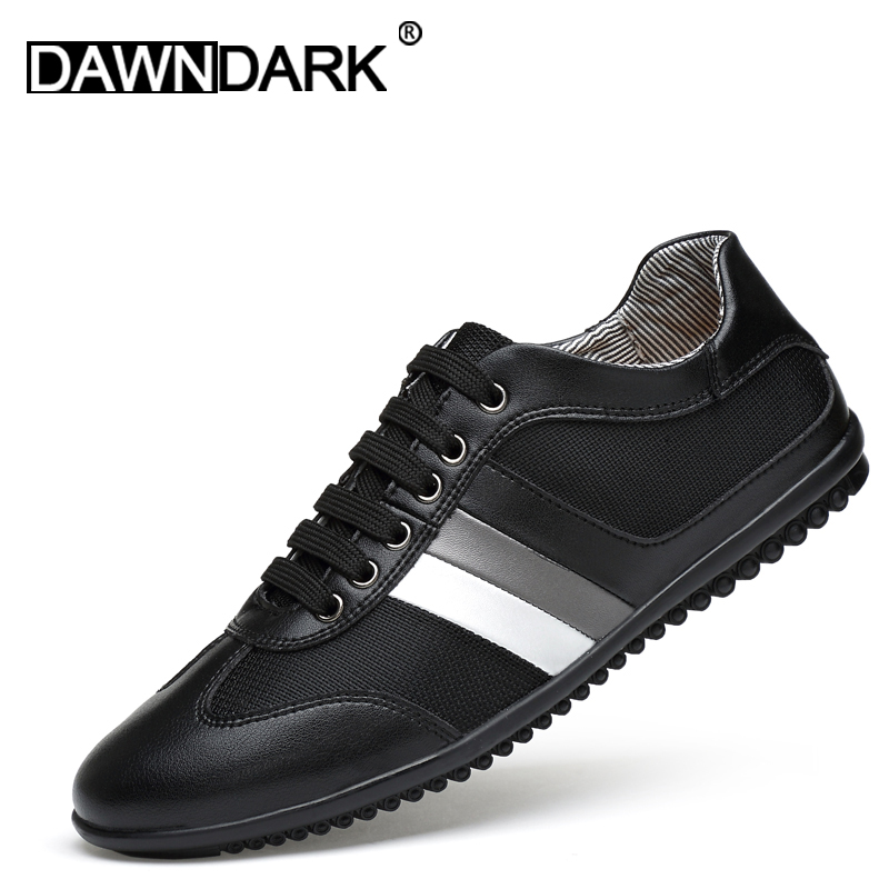 Men's Shoes Fashion Leather Gommino Comfortable Men Casual Shoes Flats Lace Up Genuine Leather Man Soft Mesh Sneakers