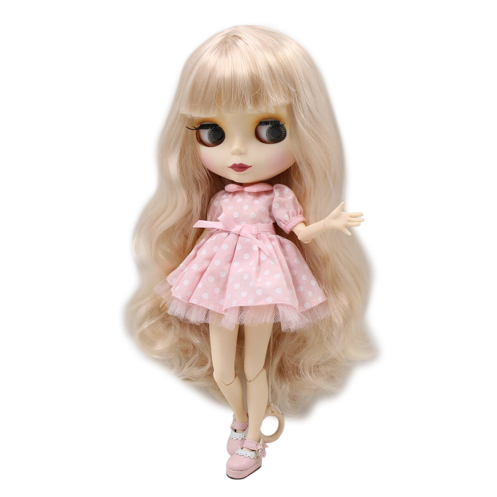 Blyth 1/6 nude doll colorful hair with bangs/fringe white