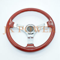 JK High Quality 14inch 350MM Classic Red Wooden Sport Steering Wheel Wood With Sliver Spoke ABS