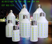 E27 B22 E14 5730 SMD LED Corn Bulb 12V 24V 36V 48V 60V 7W 10W 15W 18W 25W 30W High Luminous Spotlight LED Lamp Light(China)