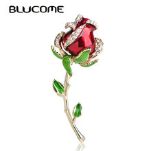 Blucome Beautiful Red Rose Flower Brooch Enamel Zinc Alloy Corsage Pin Jewelry Accessories Valentine's Day Gifts For Women Girls