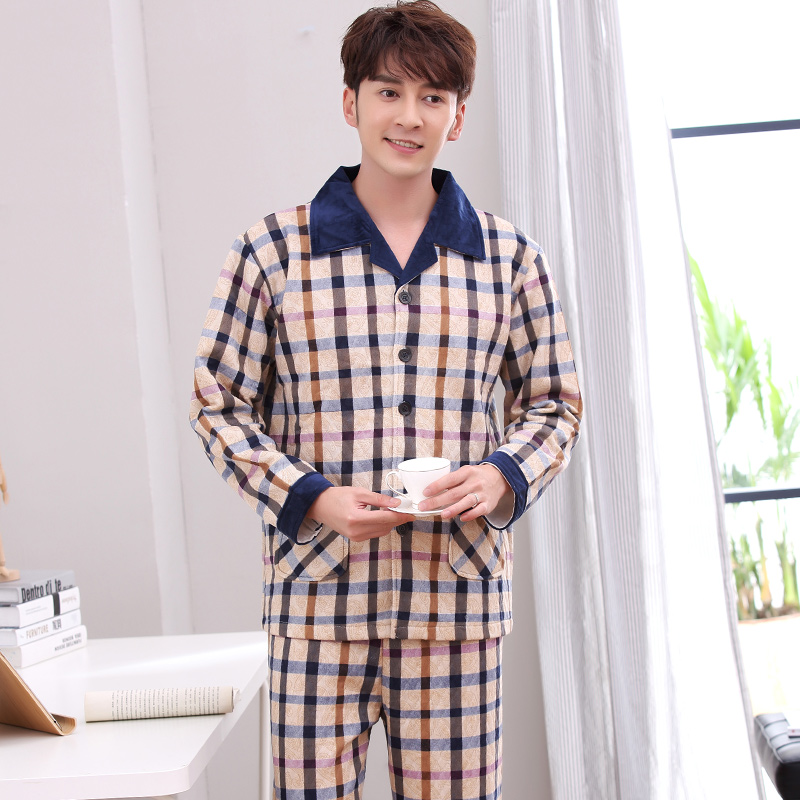 J&Q New Male Sleepwear Cotton Pyjama Homme Hiver Plaid Double-side Cotton Sleepwear Men Winter Pyjamas Man Herren Pyjama Warm