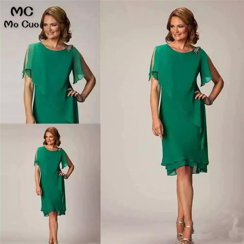 Simple Green Tea Length Mother of the Groom Dresses Short Sleeve Crystal Wedding Guest Dress Ladies Mother of the Bride Dresses