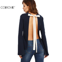 COLROVIE Navy Tie Open Back Long Sleeve Shirt Color Block Clothes Female Patchwork Round Neck Backless Blouse