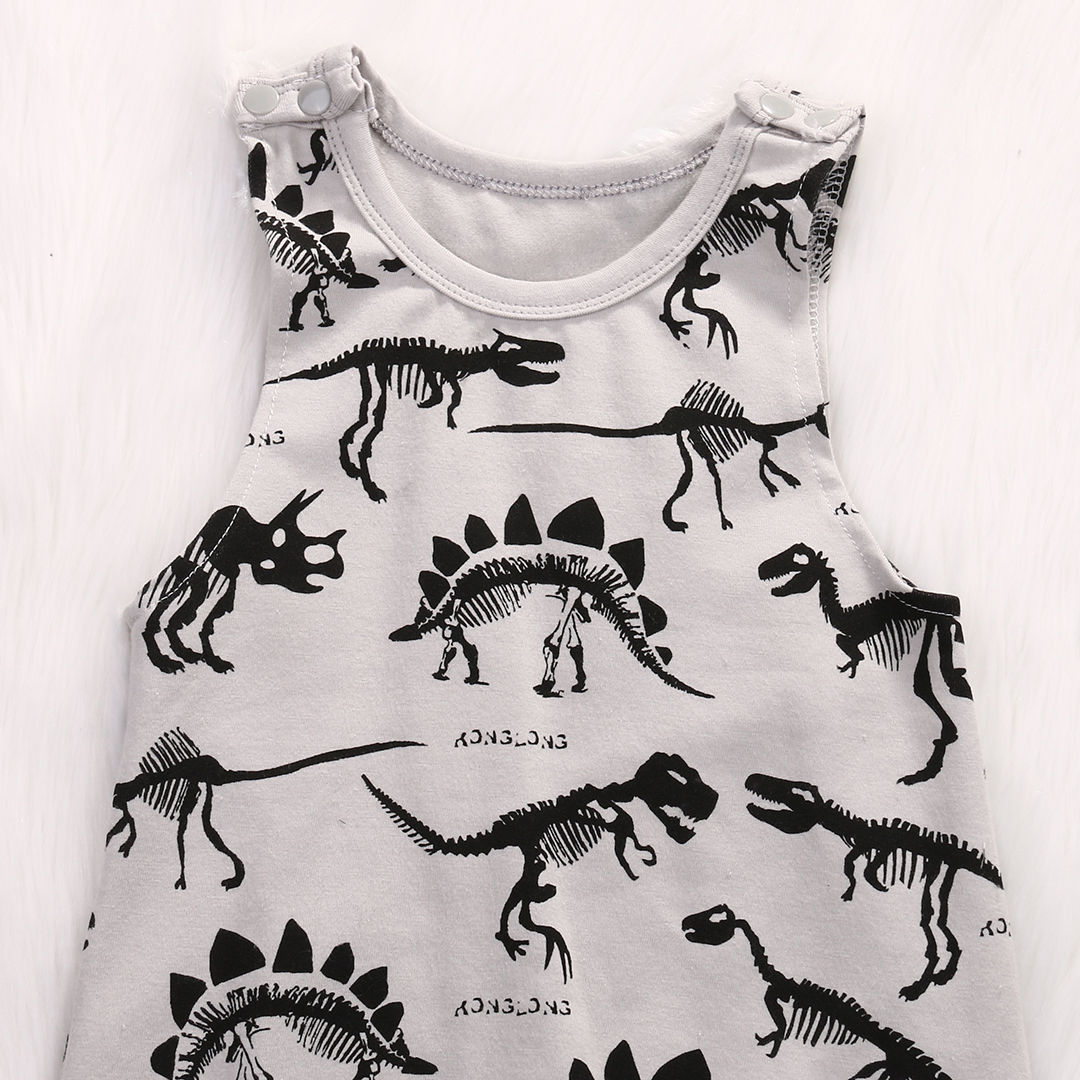 2017Hot Sale Baby Kids Boy Girl Clothes Infant Sleevless Dinosaur Print Cotton Romper Jumpsuit Baby Clothes Outfit Set