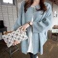 Suéter flojo de corea del estilo largo rebecas zip yy658