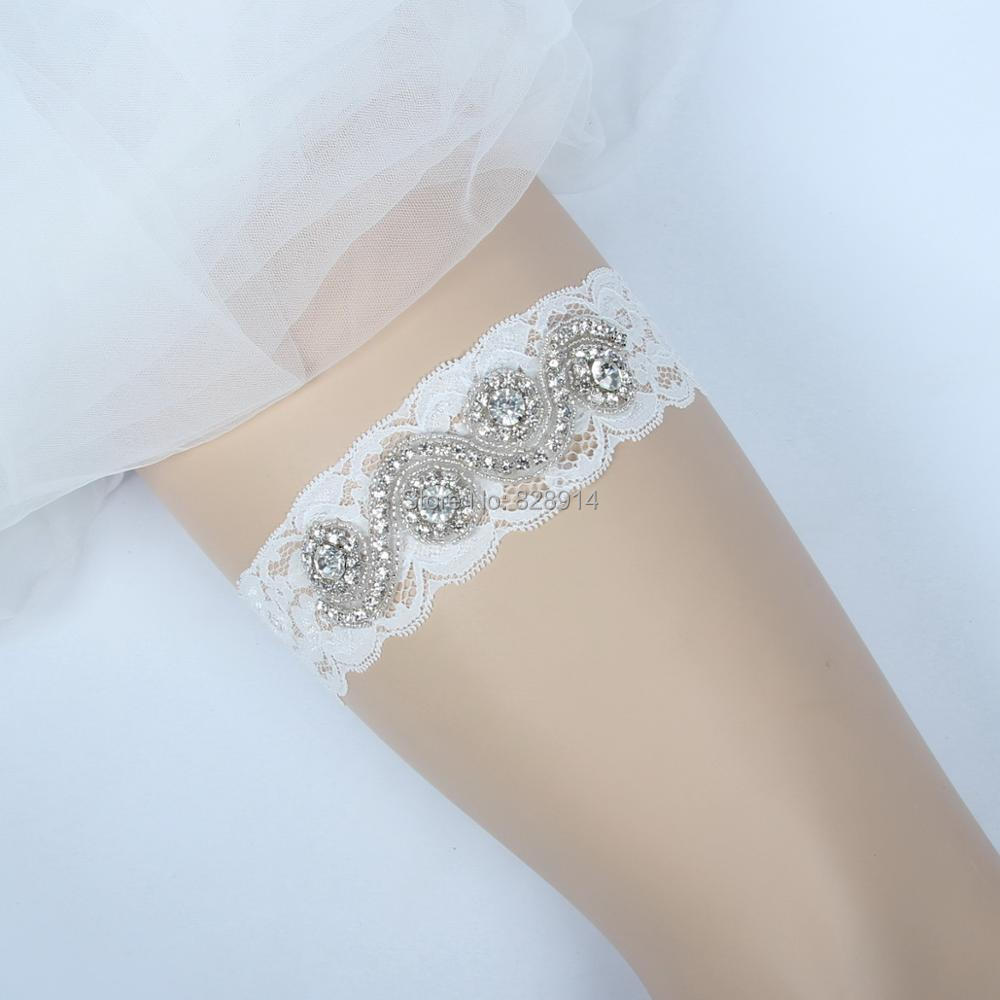 Wedding Leg Garter: Luxury Sexy Women Lace Trim Rhinestones Applique Bridal