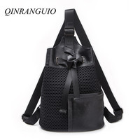 QINRANGUIO Backpack Women 2019 New Fashion Genuine Leather Match Nylon Women Backpack Patchwork School Bags for Teenage Girls