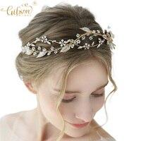 Hand Wired Gold Leaf Crown Bridal Hair Tiara Accessories Wedding Headpiece Bride Hair Band