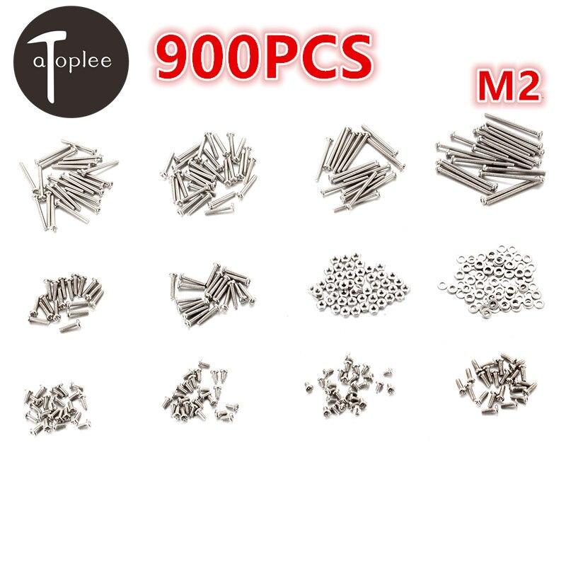 Universal 900 unids/set M2 hierro cabeza Phillips tornillos + tuercas + junta plana conjunto 3-25mm tornillo tuercas Hardware Set