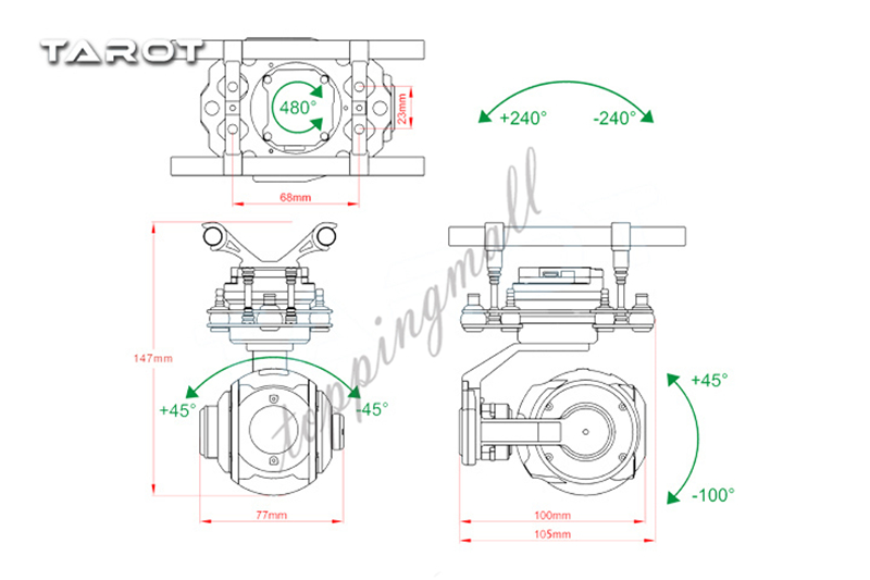 TAROT PEEPER Burshless Gimbal T10X 250ma for FPV Drone Spherical High Definition TL10A00 YLBZ A