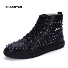 Fashion new products Martin boots high boots shoes men boots rivets metal decoration tide men high shoes цена и фото