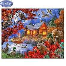 "5d diy diamond painting family of bears and ducks at the forest house"" square embroidery rhinestone 3d diamond mosaic animal art(China)"