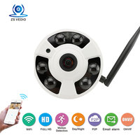 ZSSP Fisheye Wide Angle WiFi IP Camera H 264 Wireless Security Indoor IR Cut Night Vision