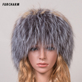 Women's Hat Winter 100% Real  Fox Fur Hat with Silver Fox Fur Pom Pom Ball Beanies Good Quality Female Brand Warm Knitted Hats