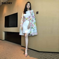 New Arrival Clothing Fashionable Women Cape Poncho Style Sweet Floral Prints Casual White Ladies Cloak Dress