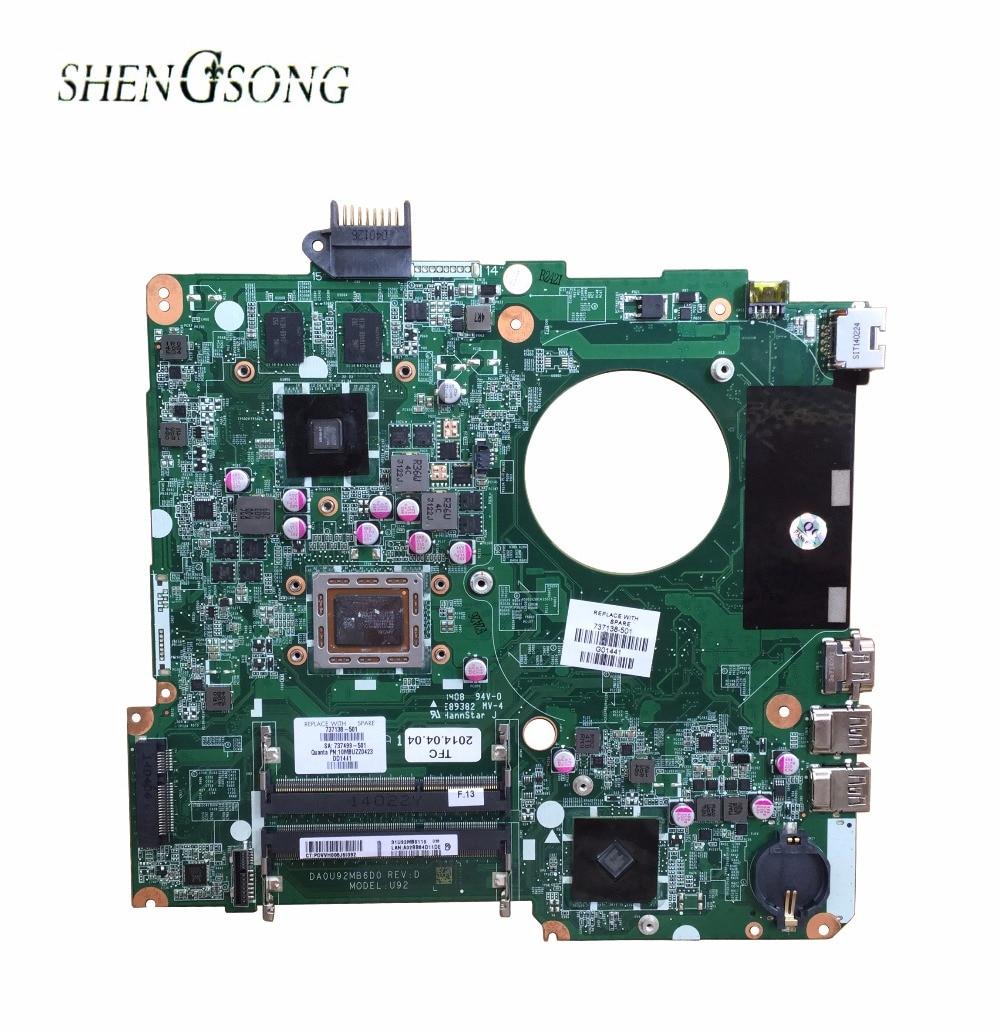 737138-501 pour HP PAVILION 15 15-N15Z-N100 ordinateur portable carte mère DA0U92MB6D0 REV: D 737138-001 Carte Mère 100% testé