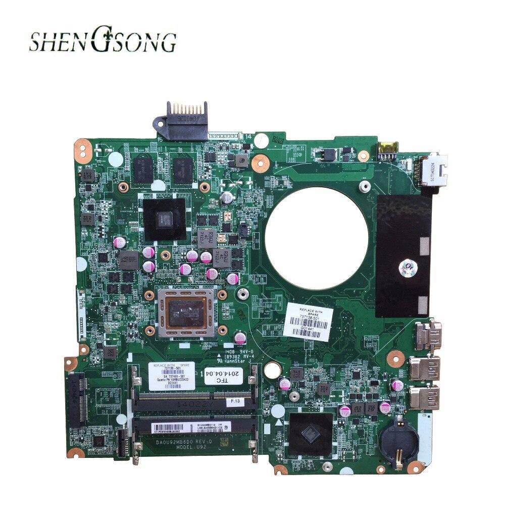 737138-501 pour HP PAVILION 15 15-N15Z-N100 mère d'ordinateur portable DA0U92MB6D0 REV: D 737138-001 Carte Mère 100% testé