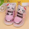 Zapatos de las muchachas Con La Luz Zapatos de Los Niños de Nueva Otoño Invierno Led Zapatillas de deporte de Dibujos Animados Niñas Bebé de La Manera Niños Zapatos Led UE 21-30